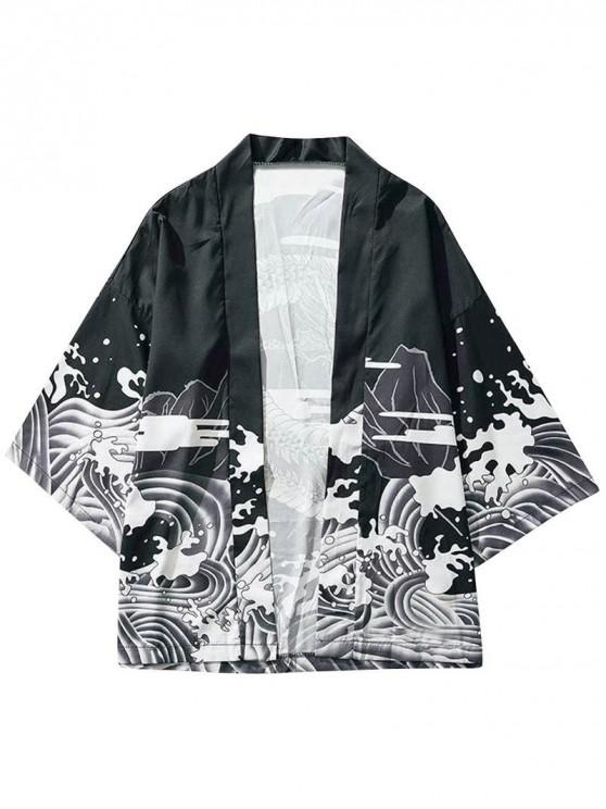 women Dragon and Wave Print Collarless Kimono Cardigan - BLACK L