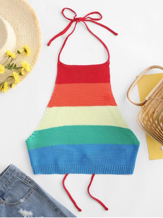 hot ZAFUL Cropped Tied Back Colorful Stripes Tank Top - MULTI M