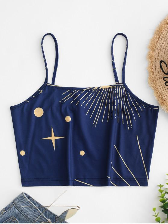 unique Cropped Sun And Star Print Cami Top - NAVY BLUE L