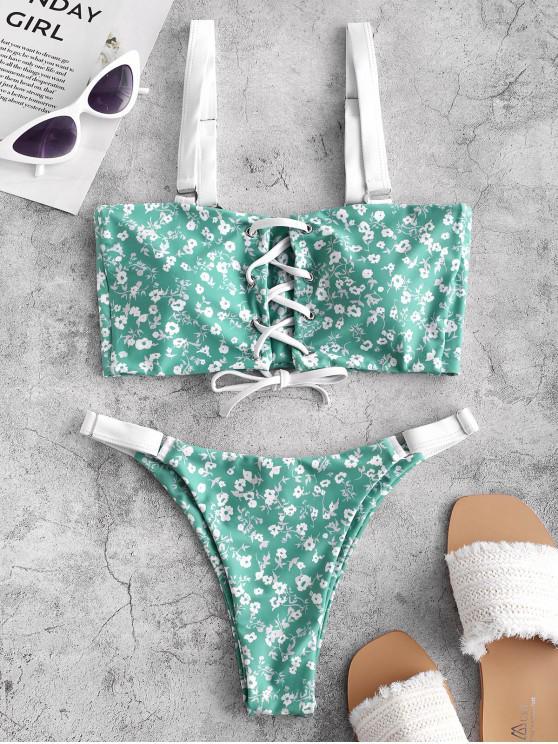 ZAFUL Tiny Floral Lace Up Bikini de pierna alta Bikini - Multicolor-A S