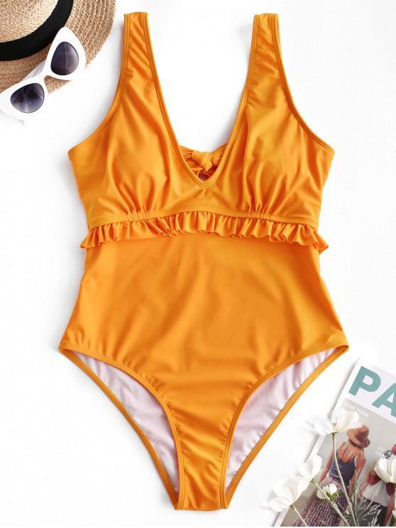 fancy ZAFUL Ruffle Plunging Tie Back Swimsuit - BEE YELLOW XL