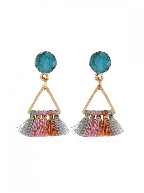 outfits Tassel Bohemia Style Triangle Dangle Earrings - BLUE