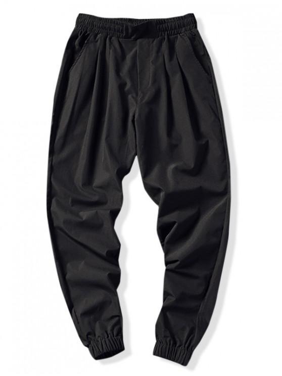 الصلبة اللون سروال رياضة عداء ببطء - أسود M