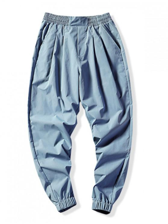 chic Solid Color Elastic Sport Jogger Pants - LIGHT BLUE L