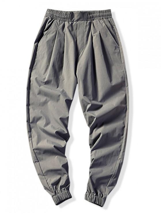 Pantalones deportivos de color sólido elásticos deportivos - Gris Oscuro M