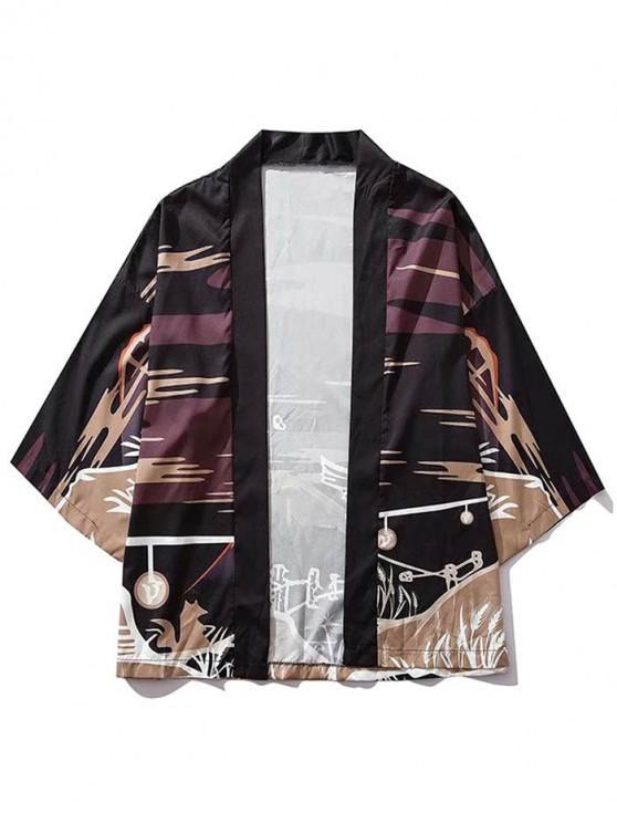 best Wolf Night Scenery Graphic Print Kimono Cardigan - BLACK L