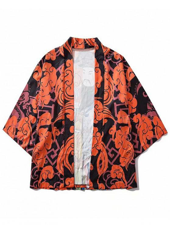 womens Chinese Caishen God Figure Print Graphic Kimono Cardigan - ORANGE 2XL