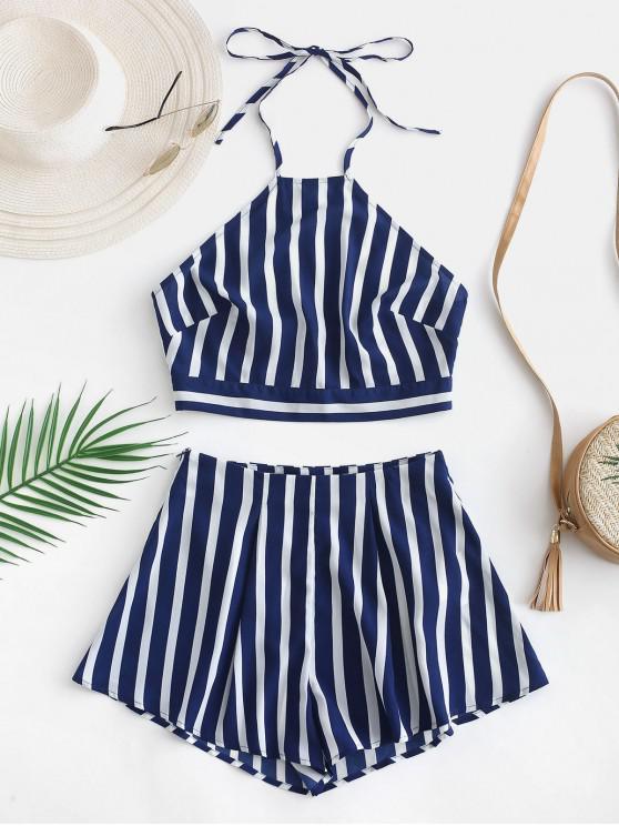 shop ZAFUL Zipper Back Striped Halter Shorts Set - OCEAN BLUE S