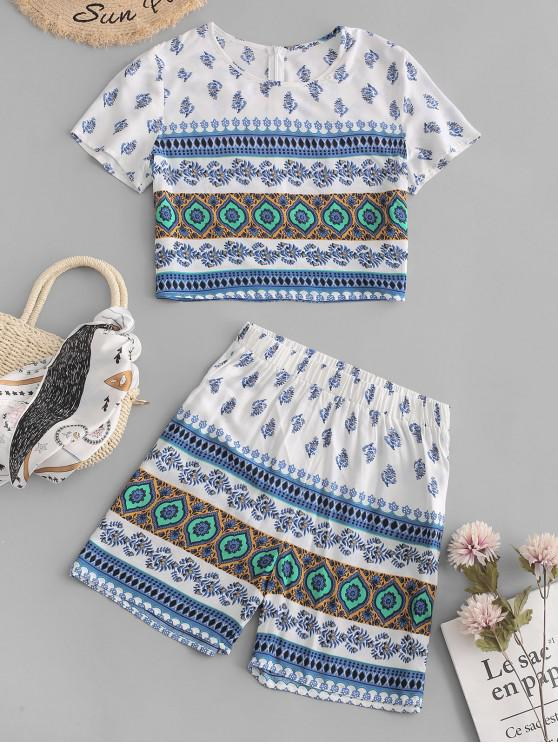 affordable ZAFUL Ethnic Printed Two Piece Set - MULTI M
