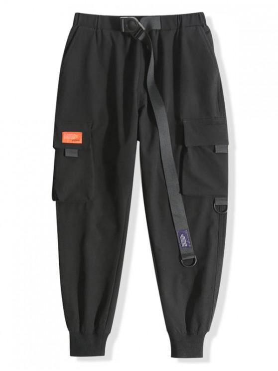 latest Solid Color Applique Sport Jogger Pants - BLACK L
