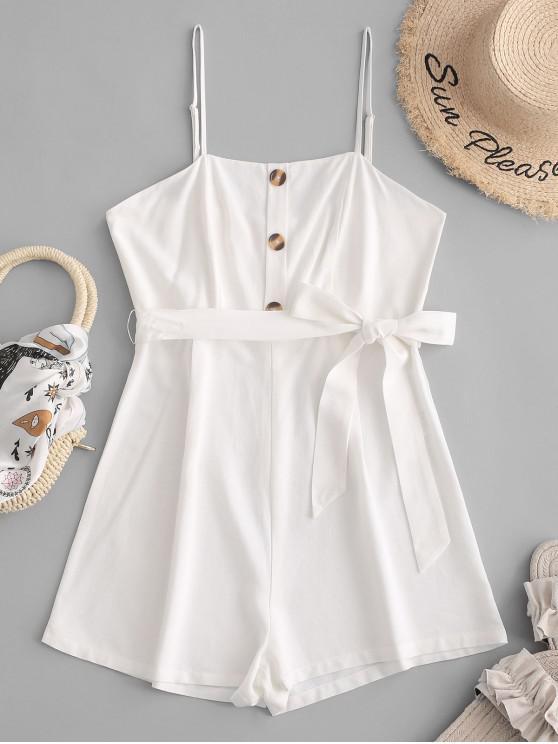 lady ZAFUL Button Belt Cami Romper - WHITE M