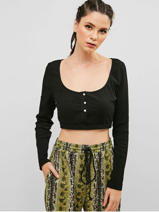unique ZAFUL Ribbed Half Buttoned Cropped Tee - BLACK M