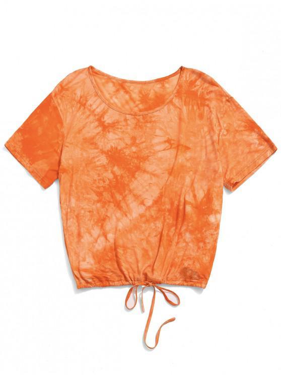 buy ZAFUL Drawstring Tie Dye Sports Tee - MULTI-A M