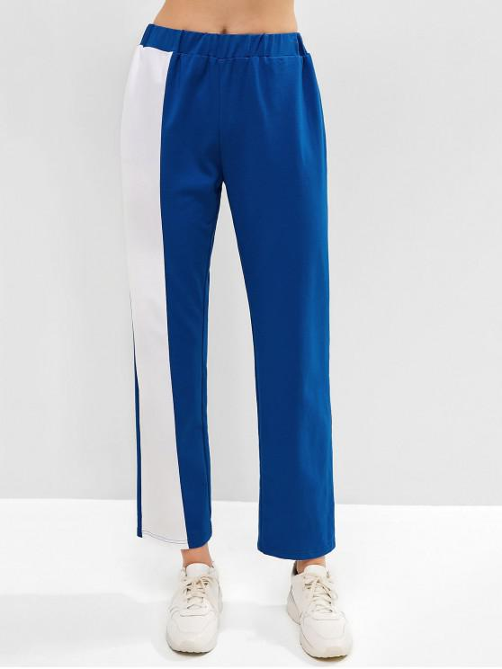 best ZAFUL Color Block Pocket Straight Pants - BLUEBERRY BLUE M