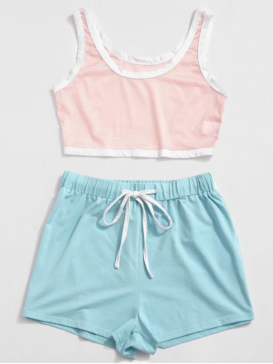 outfits ZAFUL Perforated Color Block Drawstring Shorts Set - PIG PINK S
