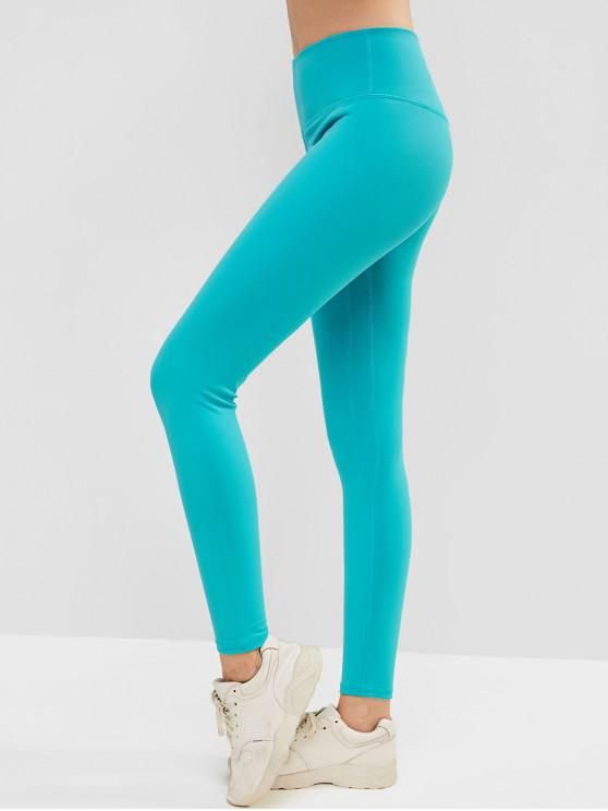 fancy Elastic Wide Waistband Yoga Gym Leggings - MACAW BLUE GREEN L