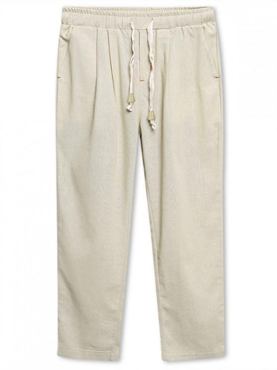 fancy Solid Color Nine Minutes of Pants - BEIGE L