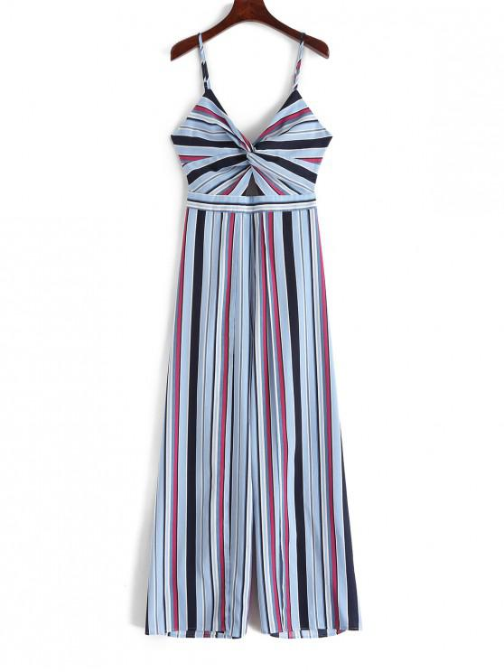 outfits ZAFUL Twisted Knotted Back Striped Cami Jumpsuit - MIDNIGHT BLUE S