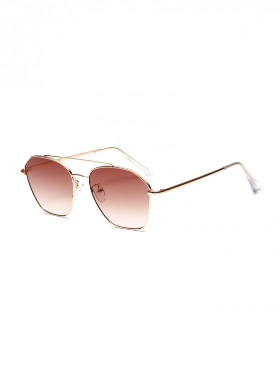 outfit Metal Stylish Irregular Frame Sunglasses - COFFEE