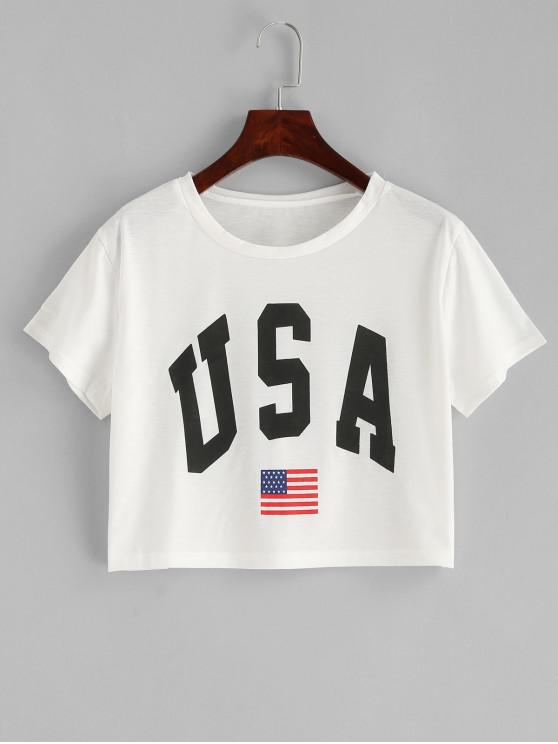 best American Flag Letter Graphic Crop Tee - WHITE S