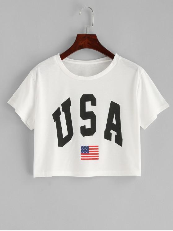 Короткая Футболка Принт американского флага - Белый XL