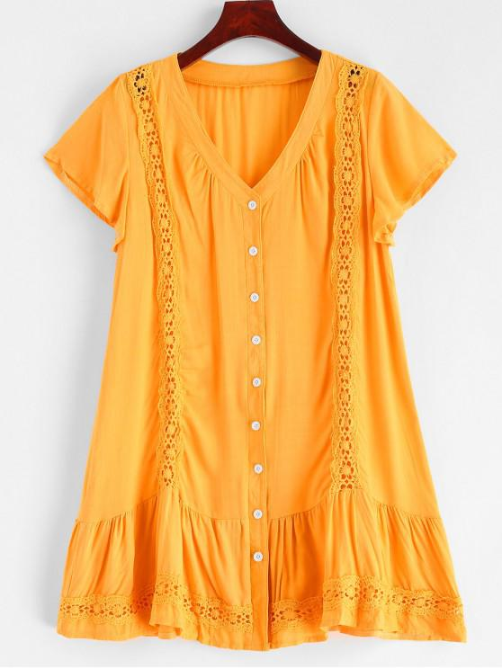 fashion Button Up Lace Panel Mini Dress - GOLDENROD L