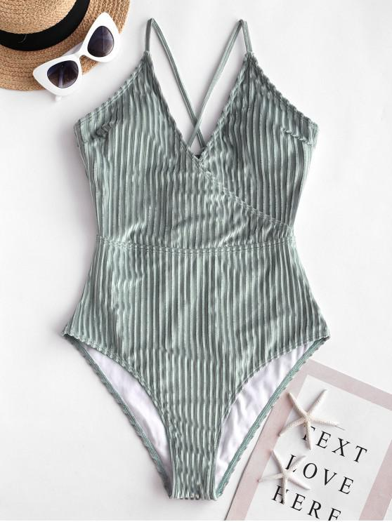 ZAFUL Velvet Ribbed Lace Up Swimsuit - Lírio Azul Claro S