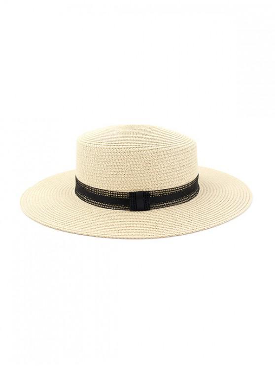 Sombrero de jazz tejido estilo vintage de paja - Beige