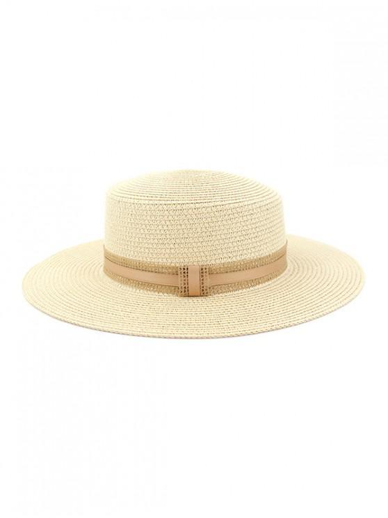 lady Straw Woven Vintage Style Jazz Hat - MILK WHITE
