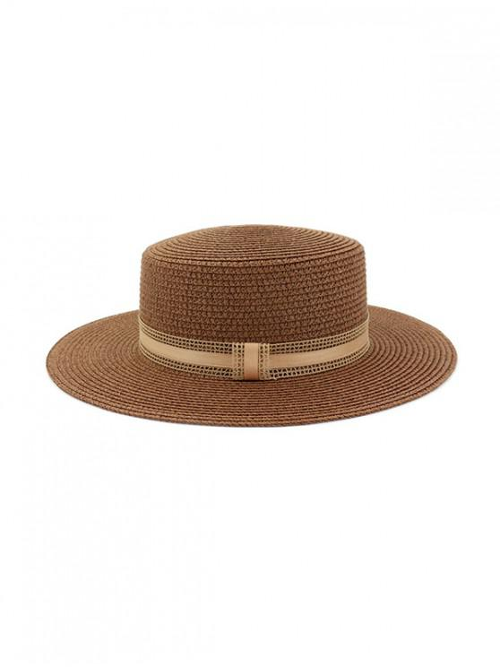outfit Straw Woven Vintage Style Jazz Hat - COFFEE