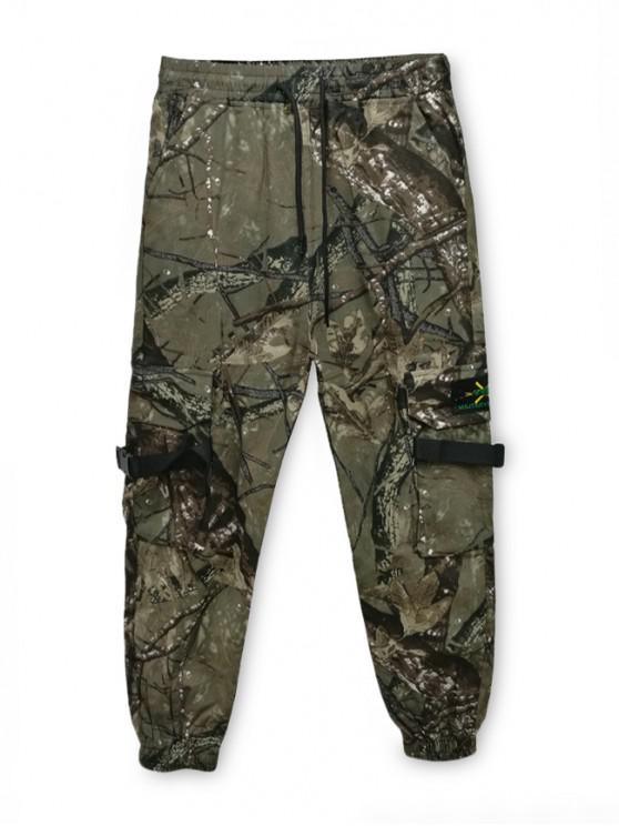 hot Buckle Strap Embroidery Applique Sport Jogger Pants - WOODLAND CAMOUFLAGE L