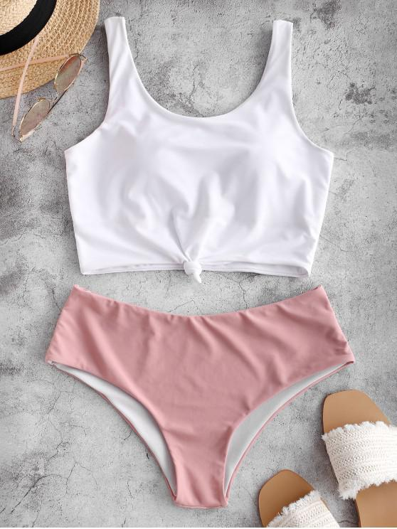 online ZAFUL Knotted Color Block Tankini Set - LIGHT PINK XL