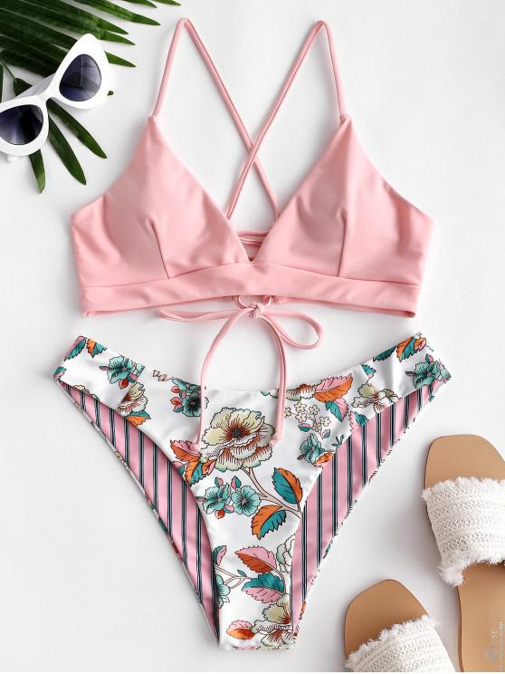 women ZAFUL Reversible Floral Striped Lace Up Bikini Swimsuit - LIGHT PINK L