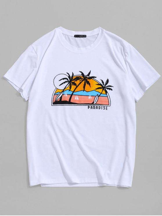 ZAFUL Beach Scenery Graphic Print Hawaii T-shirt - أبيض 2XL