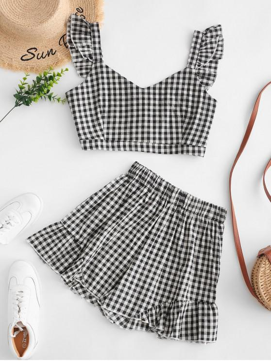 chic Plaid Ruffle Sweetheart Shorts Set - BLACK S