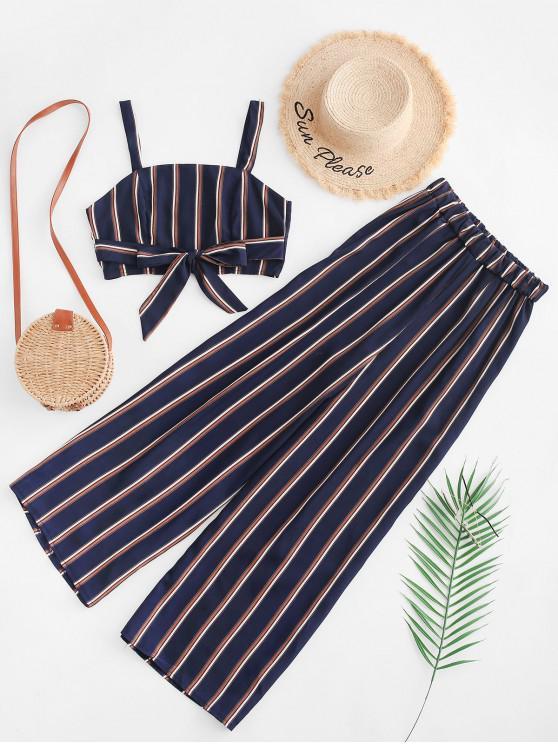 buy Striped Zipper Back Wide Leg Pants Set - DARK SLATE BLUE M