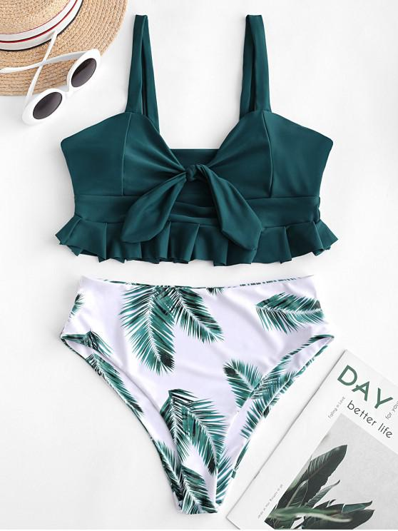 unique ZAFUL Ruffle Knot Leaf Print Tankini Swimsuit - PEACOCK BLUE M