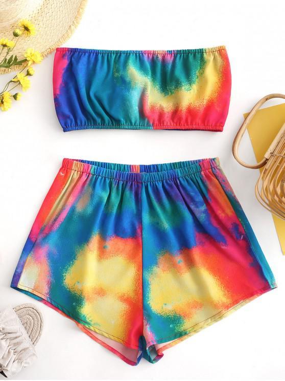 lady ZAFUL Tie Dye Bandeau Top And Shorts Set - MULTI S