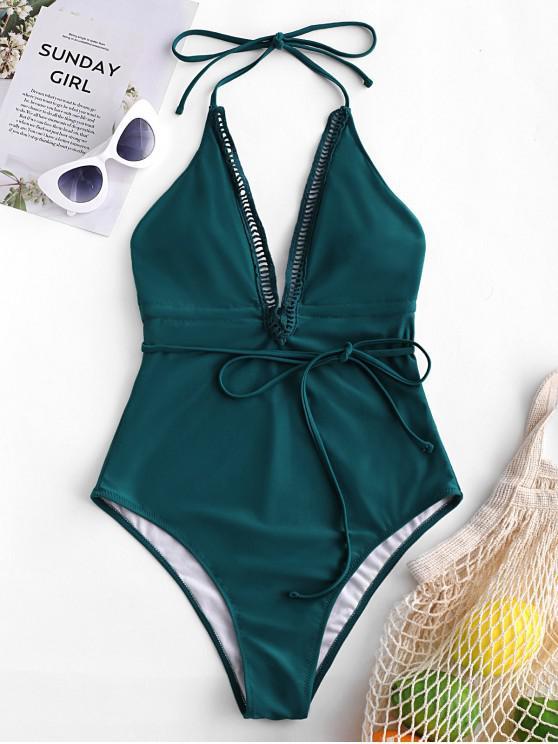 ZAFUL الرسن الكروشيه إدراج عارية الذراعين ملابس السباحة - الطاووس الأزرق XL