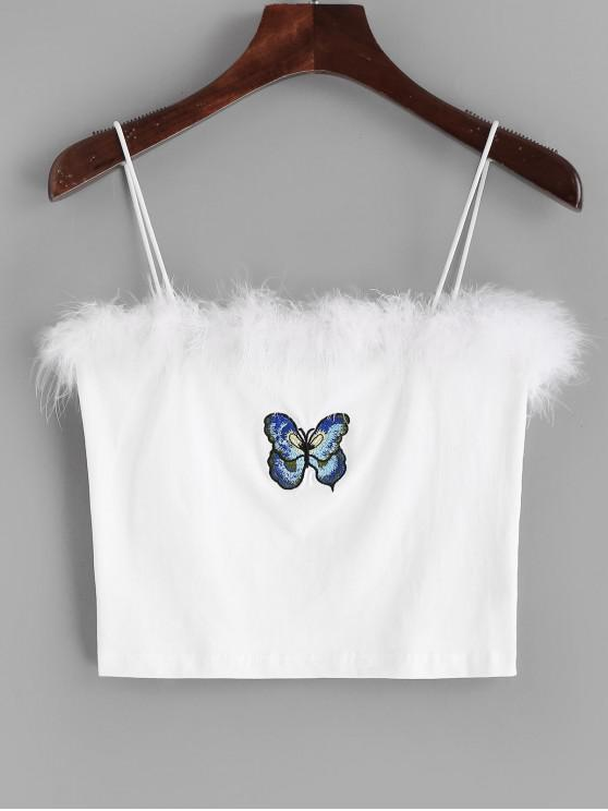 best Butterfly Embroidered Furry Cami Top - WHITE L