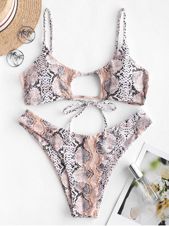 outfit ZAFUL Snakeskin Cutout High Cut Bikini Swimsuit - CAMEL BROWN L