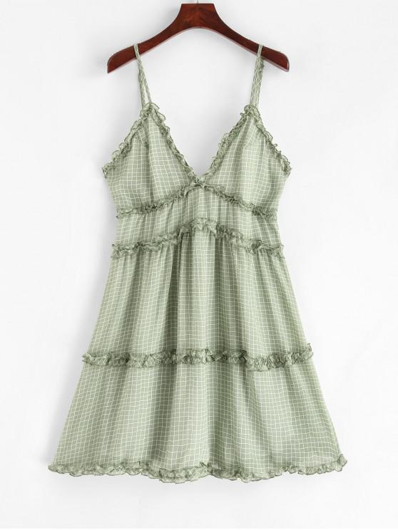 unique Ruffle Trim Gingham Tiny Floral A Line Cami Dress - DARK SEA GREEN M