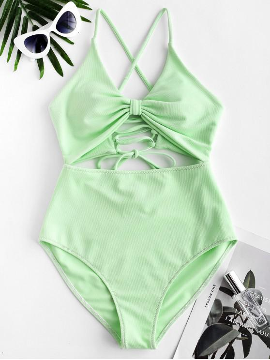 women ZAFUL Textured Lace-up Cutout One-piece Swimsuit - MINT GREEN M