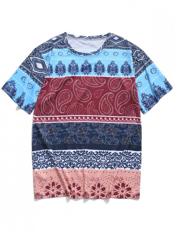 hot Ethnic Tribal Floral Paisley Print T-shirt - MULTI 2XL