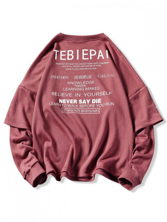 trendy Letters Print Layered Sleeve Pullover Sweatshirt - RED WINE L