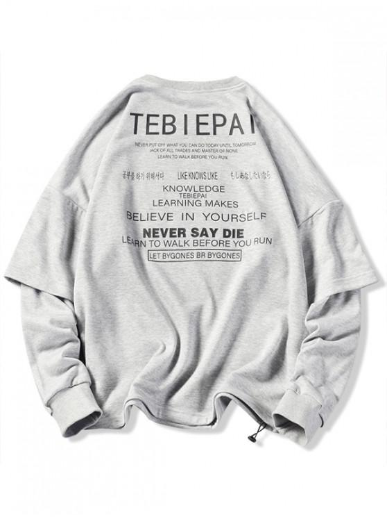 buy Letters Print Layered Sleeve Pullover Sweatshirt - GRAY L