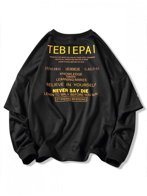 best Letters Print Layered Sleeve Pullover Sweatshirt - BLACK XL