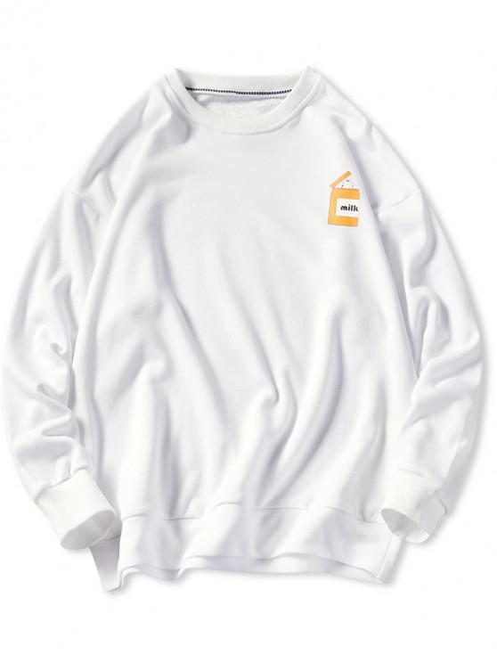 new Cartoon Cats Print Pullover Sweatshirt - WHITE L