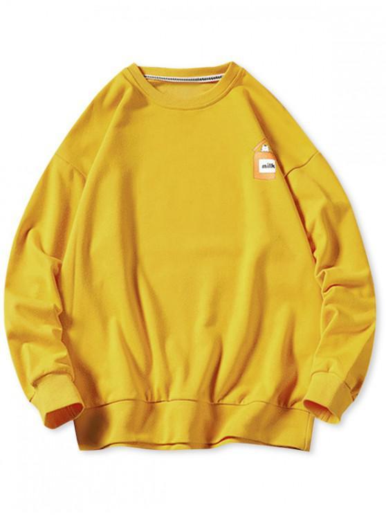 buy Cartoon Cats Print Pullover Sweatshirt - YELLOW XL