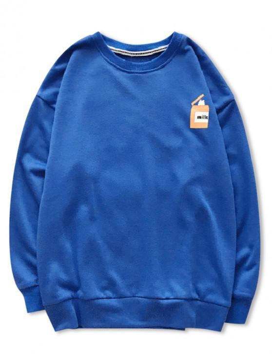 hot Cartoon Cats Print Pullover Sweatshirt - BLUE L